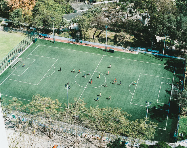 High Angle View Of Soccer Match