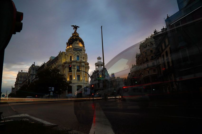 Long exposure in Madrid Madrid Sunset Canon 5d Mark Iv Canon Long Exposure Architecture Building Exterior Built Structure Transportation City Mode Of Transportation Sky Car