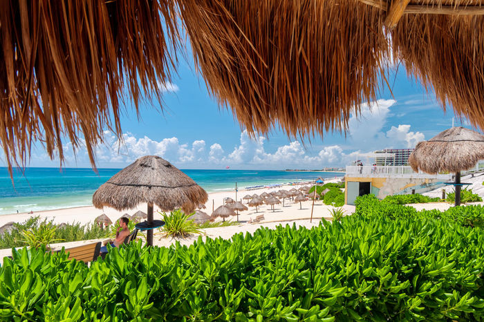 Caribbean beach and turquoise sea for a paradise landscape in Cancun, Playa delfines, Quintana Roo, Mexico Canon Cancun Mexico White Sand Water Thatched Roof Sea Roof Sky Plant Nature Horizon Over Water Palm Tree Tropical Climate Beach Beauty In Nature Horizon Day Growth Land Parasol No People Leaf Outdoors