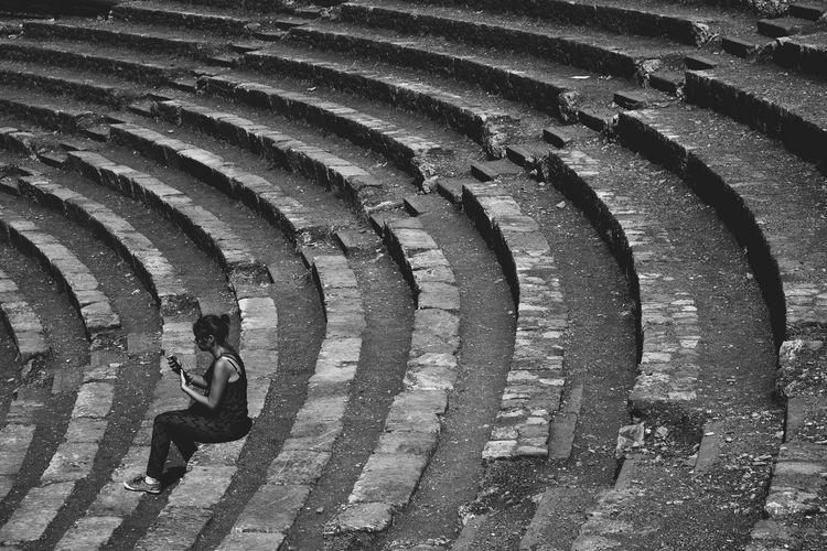 Ancient Black & White Greek Italia Mediterranean  Sicilia Sicily Theater Ancient Architecture Ancient Civilization Black And White Blackandwhite Blackandwhite Photography Italy One Person Real People Roman Taormina Theatre