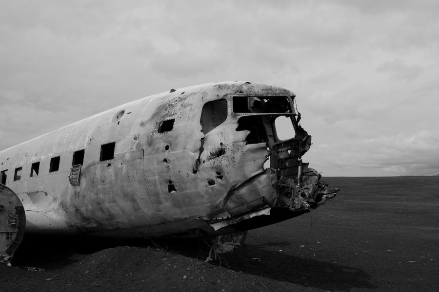 Sólheimasandur Abandoned Accidents And Disasters Air Vehicle Airplane Blackandwhite Broken Cloud - Sky Crash Damaged Day Destruction Deterioration Iceland Military Airplane Nature No People Obsolete Old Ruin Outdoors Plane Run-down Sky Transportation Weathered Been There. An Eye For Travel