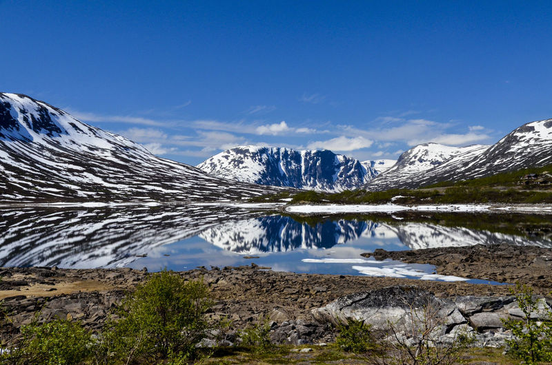 Reflections of the snowed mountains on the lake water in a high altitude,  with blue sky
