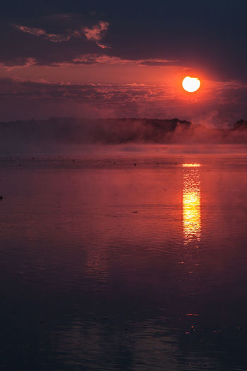 Beauty In Nature Cloud - Sky Fog Foggy Foggy Morning Horizon Over Water Nature No People Orange Color Outdoors Reflection Scenics Sky Sun Sunset Tranquil Scene Tranquility Water