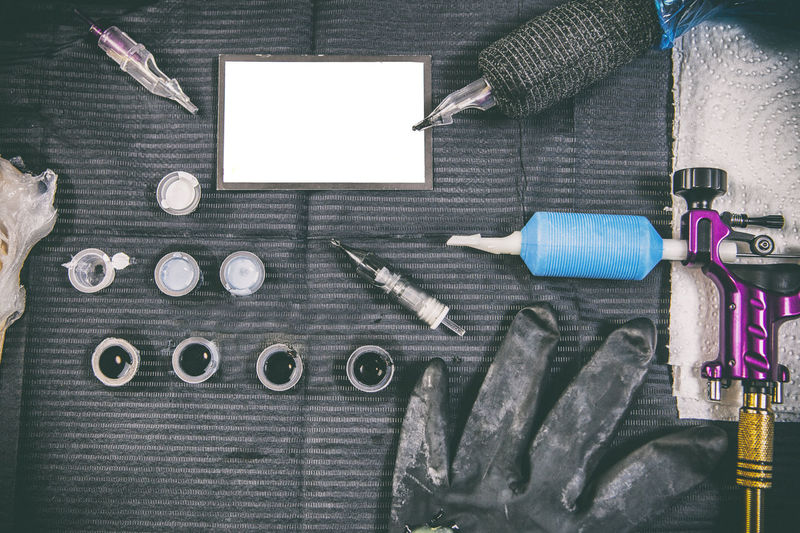 Directly above view of various objects on table