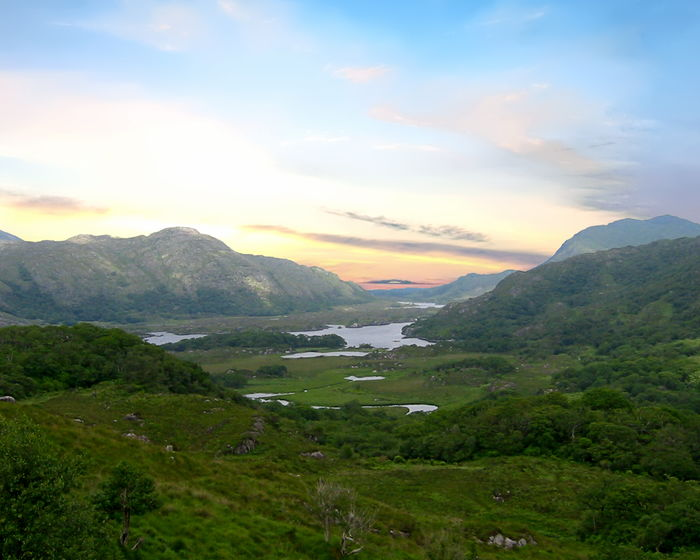 Killarney National Park with the Lakes of Killarney in the background. County Kerry, Ireland Ireland Killarney National Park Beauty In Nature Cloud - Sky County Day Grass Kerry Landscape Mountain Mountain Range Nature No People Outdoors Scenery Scenics Sky Tranquil Scene Tranquility Tree Water
