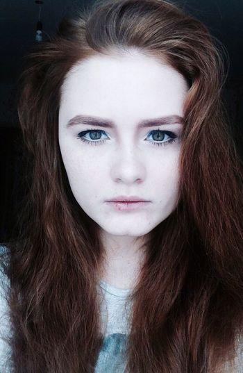 Redhead Ginger Green Eyes Makeup Taking Photos Thoughtful