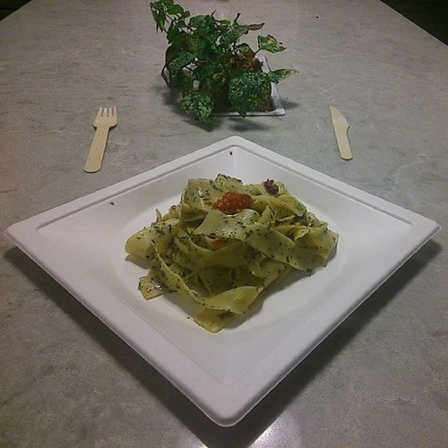 A delectable Agioolio Parpadelle with extra Chilly on the side...