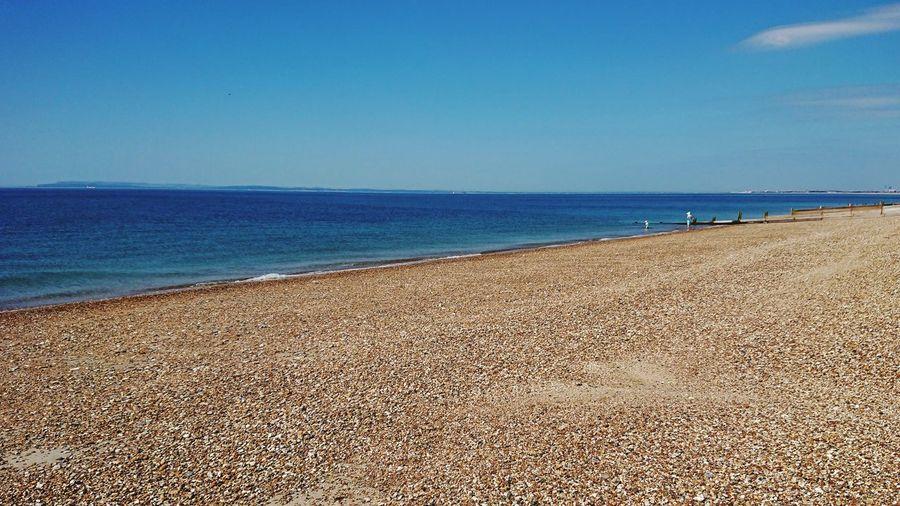 Hayling Island  English Channel Sunny Day Sea Water Beach Clear Sky Sand Blue Sky Horizon Over Water Pebble Beach Seascape Coastline Coast Calm
