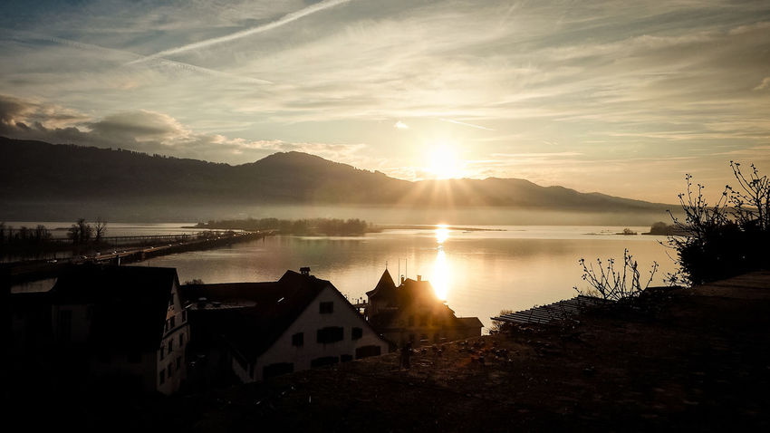 Rapperswil Architecture Beauty In Nature Built Structure Day Lake Lake Of Zurich Mountain Mountain Range Nature No People Outdoors Scenics Silhouette Sky Sun Sunlight Sunset Switzerland Tranquil Scene Tranquility Water
