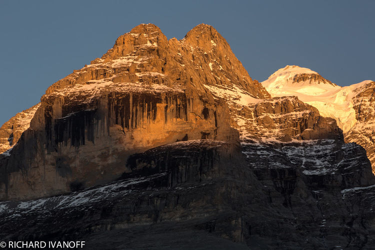 Sunset In Murren, Switzerland Beauty In Nature Cave Clear Sky Cold Temperature Day Geology Low Angle View Mountain Nature No People Outdoors Physical Geography Rock - Object Rock Face Rock Formation Rocky Mountains Scenics Sky Tranquility
