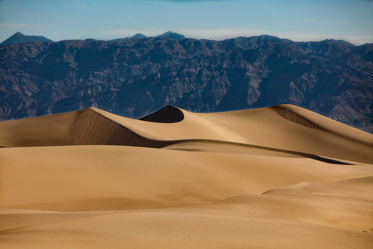 Sand dune in desert against clear sky