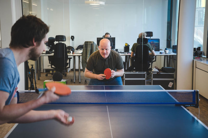 Playing table tennis at Apegorup in Stockholm. Agency Agencylife Apegroup Horstull Indoor Sport Leisure Activity Lifestyles Ping Pong Racket Serve Sport Sports Table Tennis Tabletennis Tennis