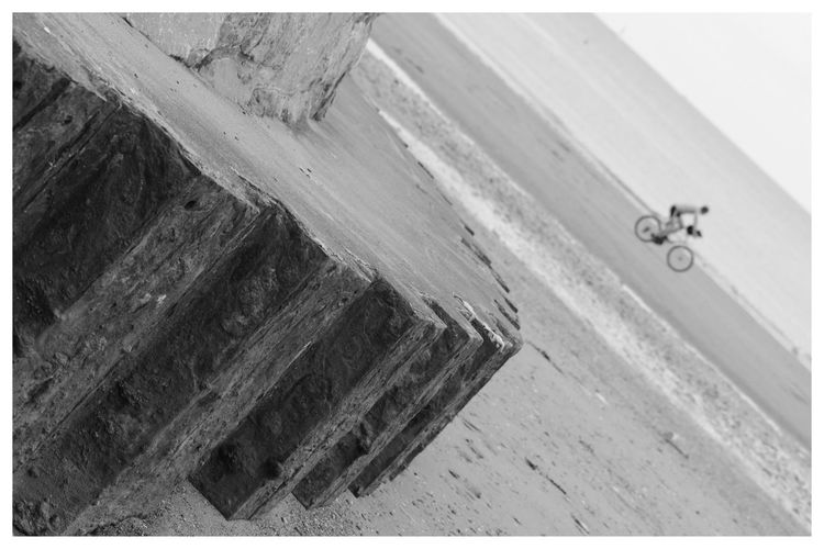 Cyclist Monochrome Beach Photography at Paignton Beach in Devon Rusty Steel Patterns Cycling Eyemphotography EyeEm Eye4photography  Eyeemphotography EyeEm Gallery Check This Out Outdoors Enjoying Life Monochrome Photography Taking Photos Water Seaside Sea And Sky Clouds And Sky EyeEm Best Shots Eye4photography