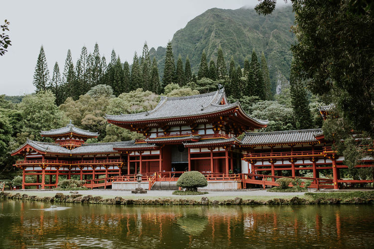 Traditional building by lake against trees