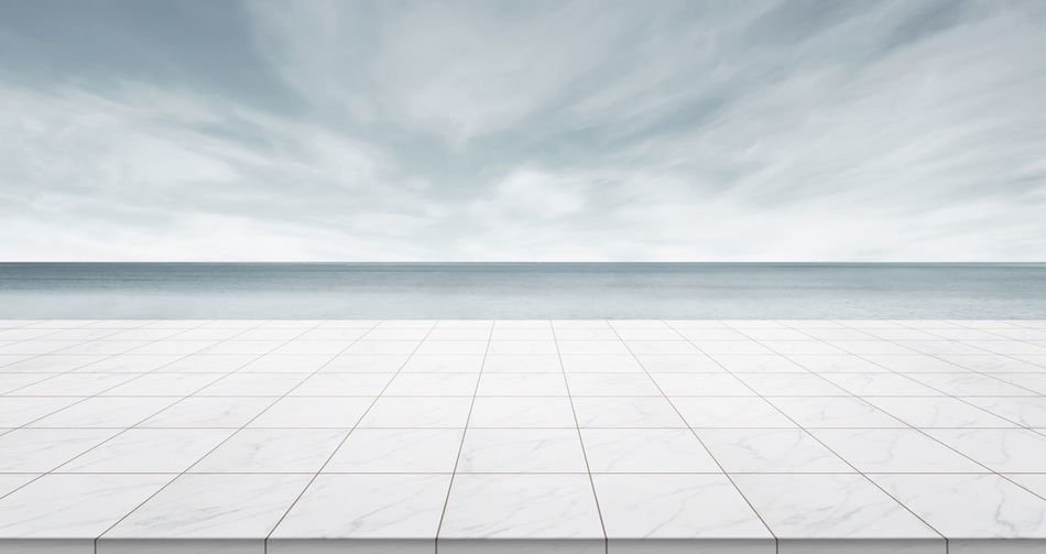 Business concept - Empty marble floor top with panoramic sky view under sunrise and morning grey bright sky for display or montage product Day Empty, Marble, Stone, Rock, Tile, Floor, Ground, Nobody, Background, Mockup, Mock Up, Template, Display, Montage, Product, Layout, Design, Texture, Blank, Morning, View, Scene, Scenery, Sky, Bright, Light, Neon, Grey, Blue, Cloud, Concept, Panoramic, Pano Horizon Horizon Over Water Landscape Nature No People Outdoors Sea Sky