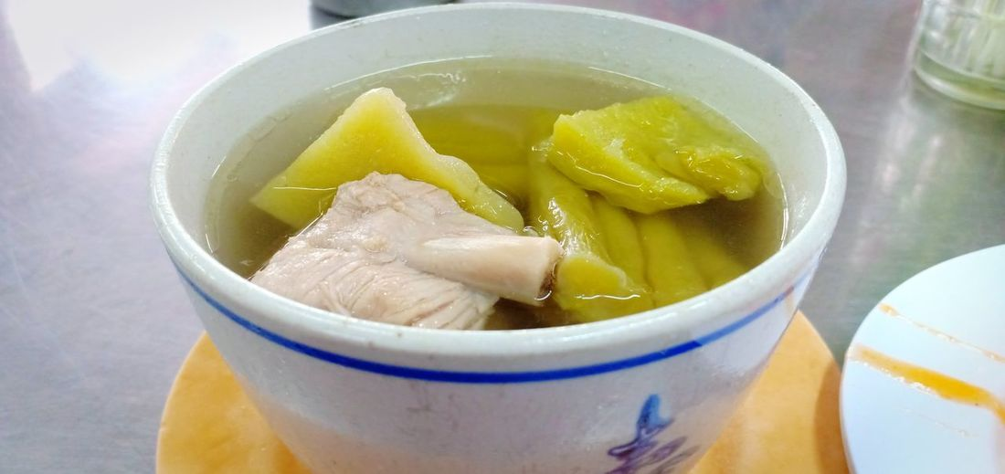 Chinese Food Pork China Food แกงจืด อาหารจีน แกงจืดมะระ มะระ Sour Taste Bowl Drink Healthy Lifestyle Liquid Yellow Cold Temperature Close-up Food And Drink Soup Bowl