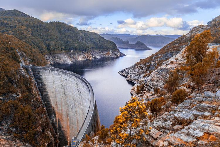 Gordon Dam and lake. Southwest, Tasmania, Australia Australia Australian Landscape Gordon Gordon Dam Lake Landscape Tasmania TasmaniaAustralia