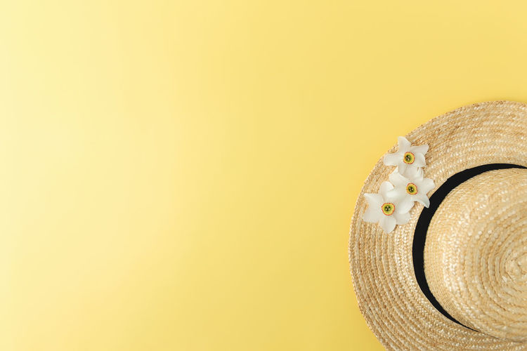 Close-up of hat against yellow background