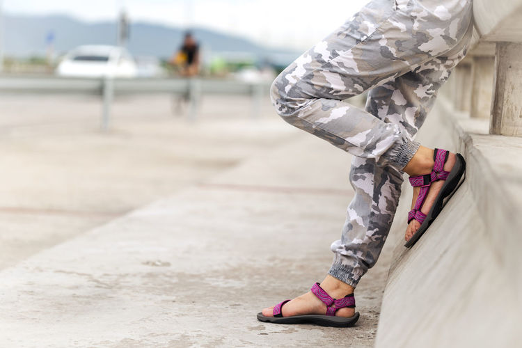 Take a rest Standing Woman Camouflage Clothing Close-up Day Low Section Men Military One Person Outdoors People Real People Resting