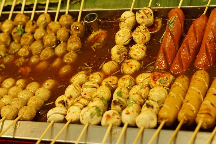 Close-up of food in skewers for sale