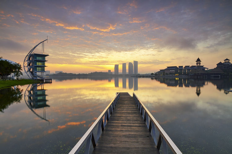 sunrise at Kompleks Sukan Air Putrajaya Beauty In Nature Built Structure Cloud - Sky Jetty Lake Nature No People Outdoors Reflection Sky Sunrise Water