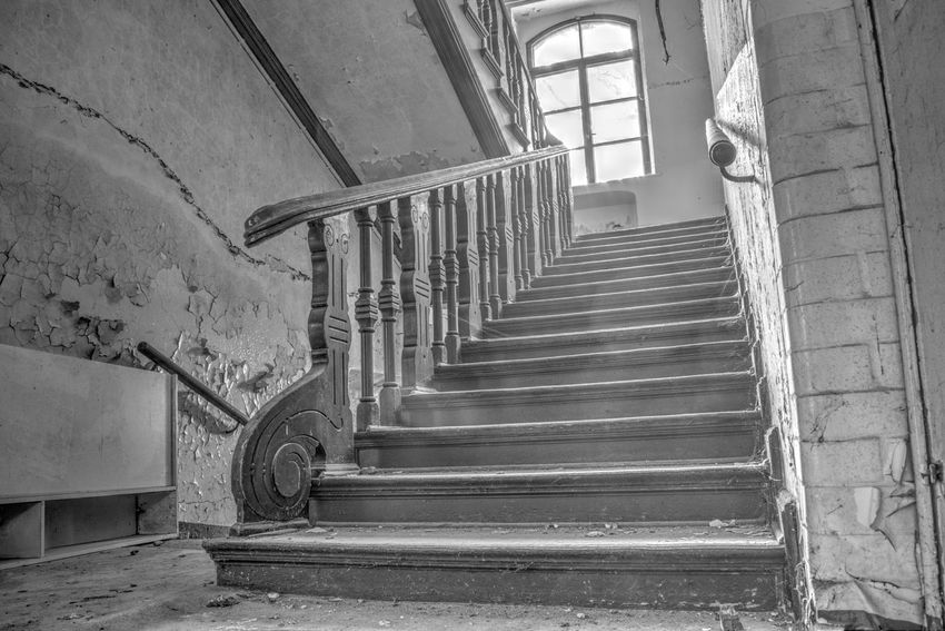 Monochrome Photography Steps And Staircases Steps Staircase Indoors  Abandoned Railing Built Structure Architecture Wall - Building Feature Building High Angle View Spiral Staircase Stairs Weathered Deterioration Damaged Obsolete Steps And Staircase Bannister Handrail