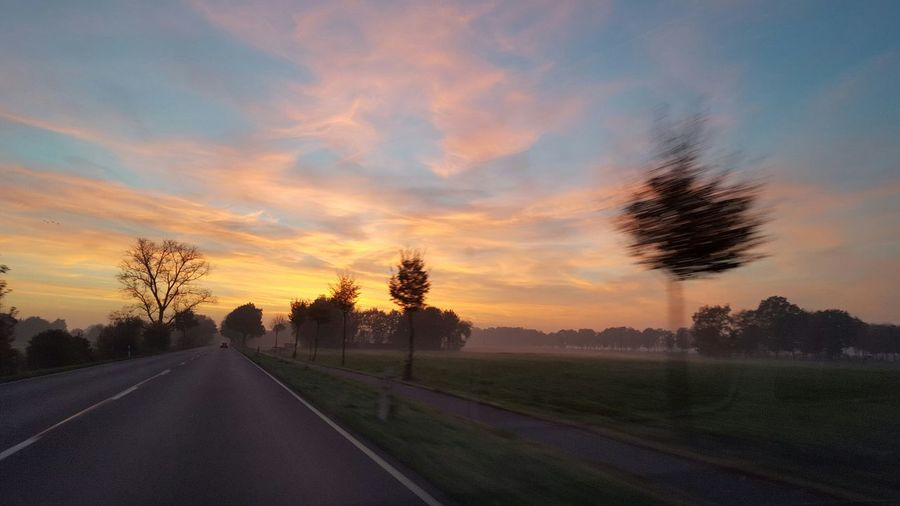Sunset Ascending Fog Photo Out Of Car