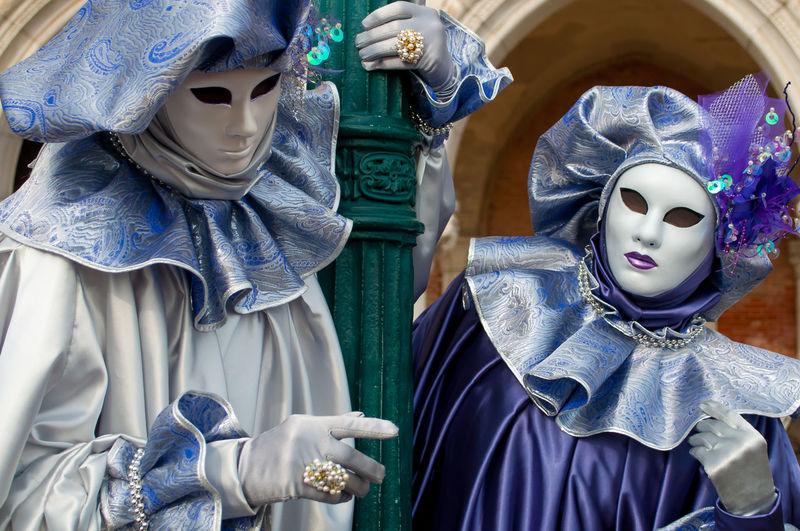 High angle view of various mask on display