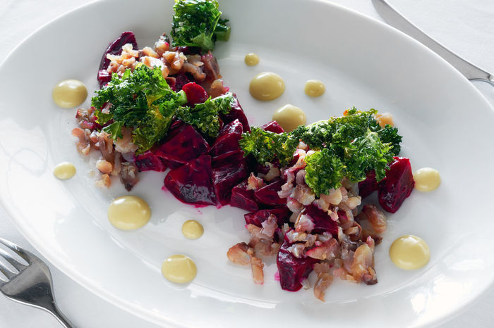 Mackerel with beet Salad Seafood Served Appetizer Appetizing  Beet Close-up Dinner Fish Food Mackerel Mackerel Fish No People Plate Ready-to-eat Restaurant Restaurant Dish Restaurant Food Salad Serving Dish Serving Size Still Life Table Vegetable Vegetables