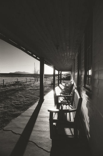 Porch Sunset Sunlight Shadow Blackandwhite Black And White Monochrome Film Ranch Mountain Colorado Built Structure Bench Sitting Seat Relaxing Tranquility Western Rural Scene Countryside Ranch Life House Home Building Exterior Outdoors