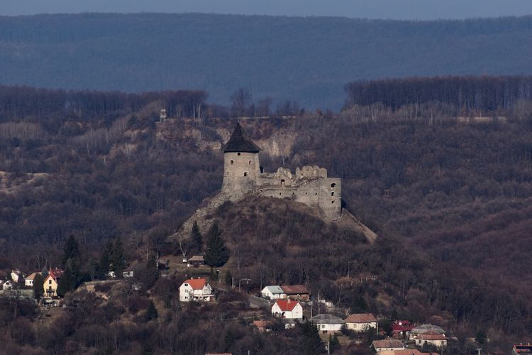 Castle on mountain against buildings