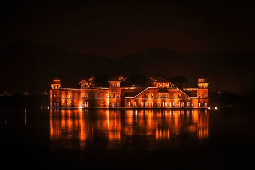 Jal mahal Palace Jaipur Jal Mahal Water Built Structure Architecture Illuminated Building Exterior Reflection Night Outdoors Sky Nature River Waterfront No People Scenics - Nature Building Travel Destinations City Beauty In Nature