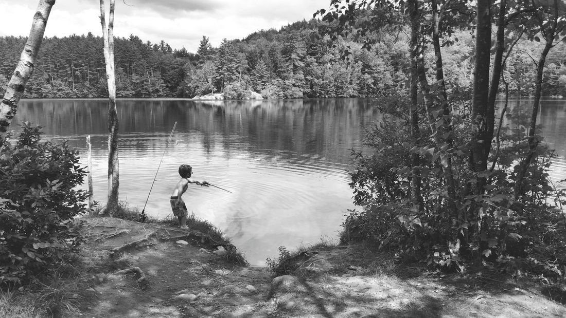 Water Tree Black & White Lake One Man Only Mirror Lake, Nh Fishing Nature Reflection Outdoors Non-urban Scene Vacations Lakeshore Summer New Hampshire New England  Beauty In Nature Scenic View Landscape White Mountain National Forest Cloud Reflection Waterfront Nature Scenics