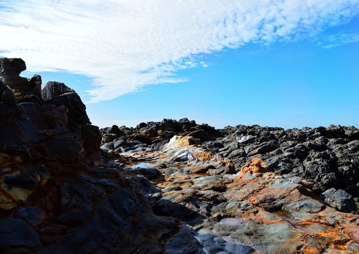 Rock Painting Natural Light West Coast Pacific Pacific Ocean Blue Sky Clouds Lava Blue Mountain Rock - Object Sky Cloud - Sky Landscape Shore Rock Formation Rock Eroded Rocky Coastline Coast Physical Geography