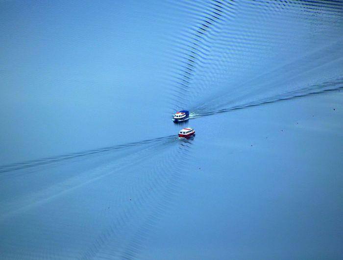 High Angle View Of Boats At Lake