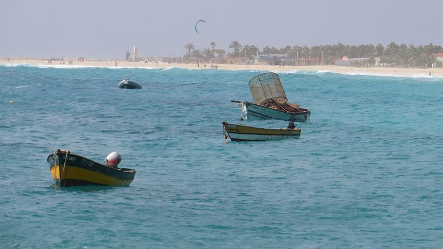 Fishing Boats Moored at Beach in Sal Cape Verde Cabo Verde Africa Beachphotography Water Waves Waves, Ocean, Nature Fishing Atlantic Ocean Life Is A Beach Sea Tropical Climate