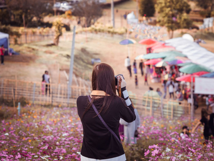 Rear view of woman photographing with camera in flower field