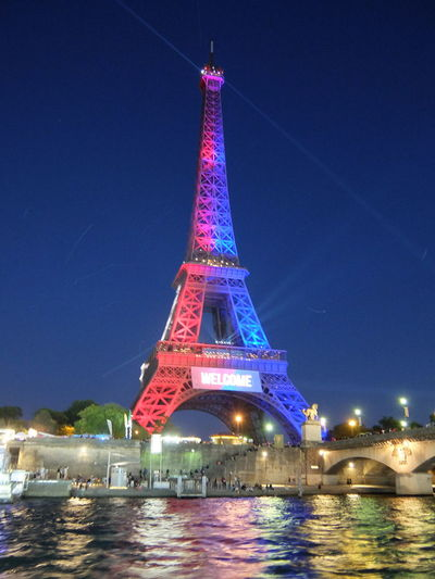Colourful Eiffel Tower Seine River City Flag Colours Tower Water Welcome