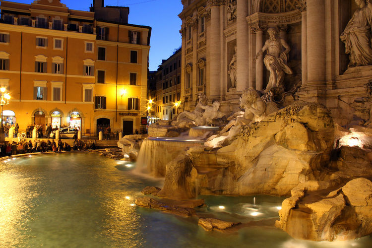 Ancient Architecture Building Exterior Built Structure City Illuminated Italy Monument Nature Night No People Outdoors Rome Sky Statue Travel Travel Destinations Trevi Fountain TreviFountain Water