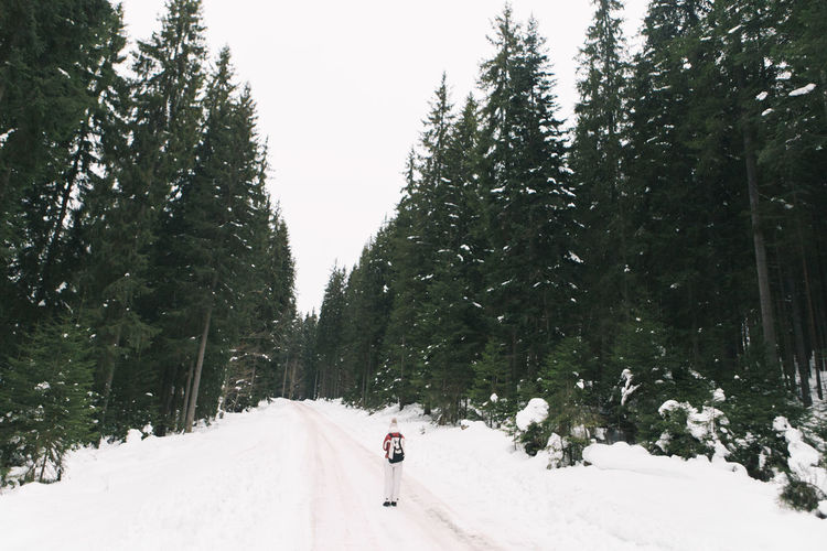 Man on snow covered landscape against sky