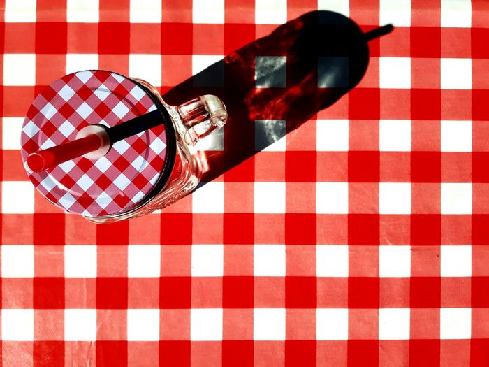 Red & White Checked Pattern Tablecloth Pattern Day Picnic Freshness Glass Mug Terrace Glass Jars On The Table Glass Jar No People Outdoors Patterns Pattern Pieces EyeEmNewHere