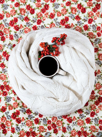 Coffee Cold Days Cozy Festive From Above  Home Interior Indoors  Red