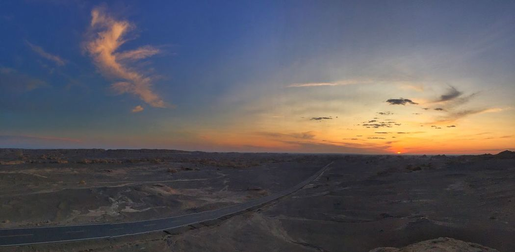 Sky Sunset Nature Landscape Beauty In Nature Outdoors Cloud - Sky No People Yadan Yard ang Yardang Landform Gansu Province Gansu DunHuang Ghost City Desert
