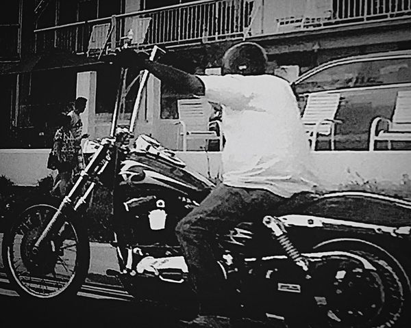 Motercycle Ride Biker Taking Care Of Business Cool Chopper Bike White T Shirt Handle Bars Ape Hangers Badass Street Apartment Buildings Neighborhood Citizens Transportation Mode Of Transport Full Length Fast Land Vehicle Architecture City Street Building Exterior City Black And White