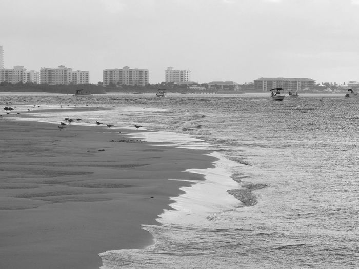 Disappearing Island Sand Bar Sand Crashing Waves  Atlantic Ocean Birds Seagulls Nautical Vessel Boats People Enjoying Life Enjoying The Sun Enjoying The Day Architecture Buildings Treeline City In Background City In The Distance Sky Sea Life Saltlife From Where I Stand Black And White Ocean Photography