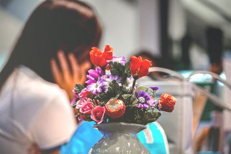 Close-up of flower bouquet against blurred background