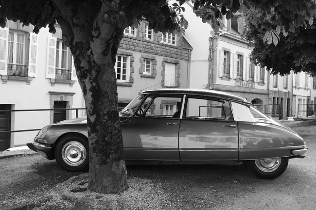 Black And White Buildings Citroen City Façade Old Car Outdoors Parked Parking Shinning Bright Tree