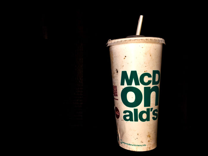 mcdonalds Black Background Close-up Container Copy Space Dark Disposable Drink Drinking Straw Food Food And Drink Glass Indoors  Mcdonalds No People Refreshment Single Object Still Life Straw Studio Shot