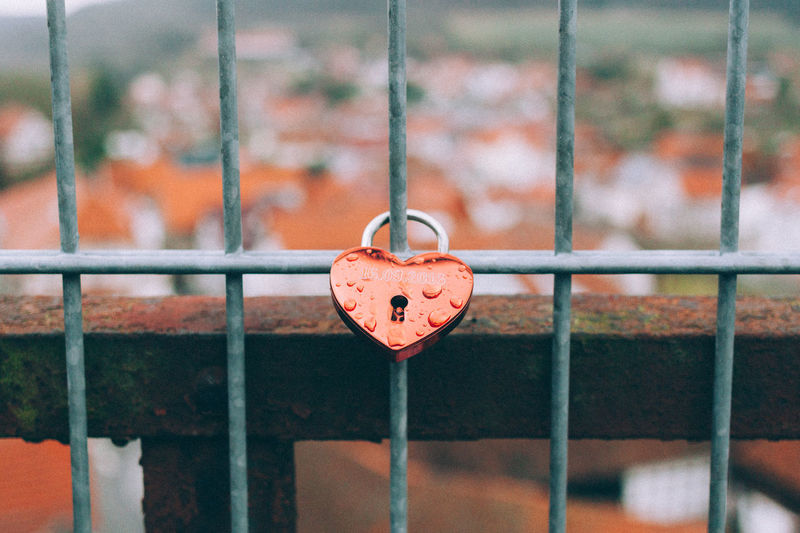 Close-Up Of Heart Shaped Padlock