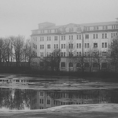 Photograpy Today House Trees Ice Water Blackandwhite Haunt Photograpy Instagram Insta Frozen Shoot Cold Winter Winteriscoming No Coulor Mist Fog Foggy Reflection Sea